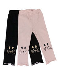 Ultra Soft Kids'Cotton Capri Kitty 2 Pack Pink/Black 18M