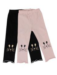 Ultra Soft Kids'Cotton Capri Kitty 2 Pack Pink/Black 2T