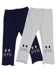Ultra Soft Kids'Cotton Capri Kitty 2 Pack Grey/Navy 3T