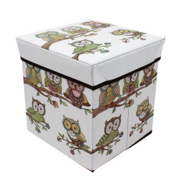 owls on branch ottoman foldable box storage