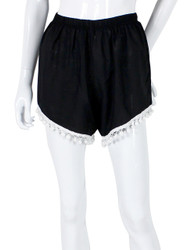 Solid Black Shorts with Pom Pom Trim One Size