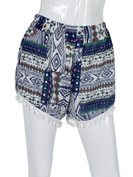 Tribal Print Shorts with Pom Pom Trim One Size