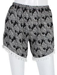 Black and White Leaf Print Shorts with Pom Pom Trim One Size