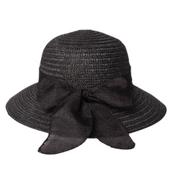 Cute Straw Hat with Bow Black