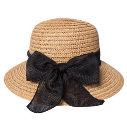 Cute Straw Hat with Bow Khaki