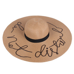 Sequined Large Floppy Straw Hat Do not disturb Khaki