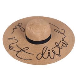 Sequined Large Floppy Straw Hat Do not disturb Khaki