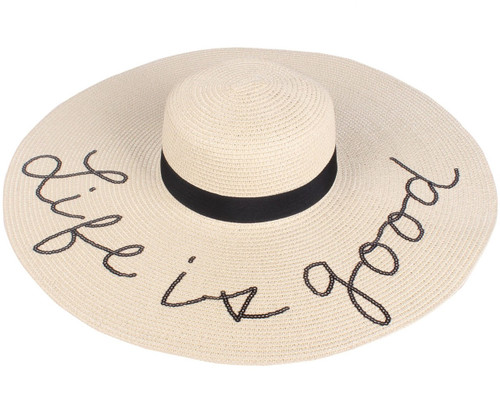 Sequined Large Floppy Straw Hat Life is good Beige