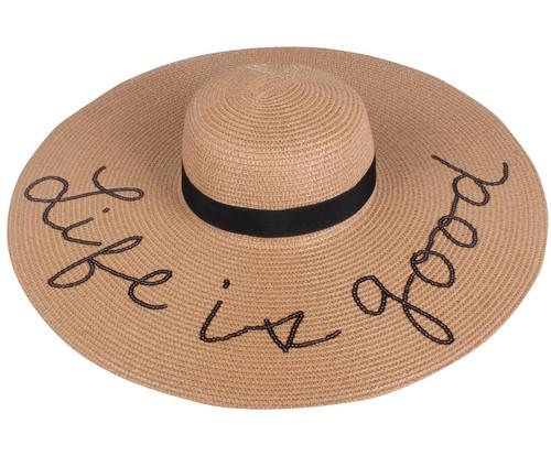 Sequined Large Floppy Straw Hat Life is good Khaki