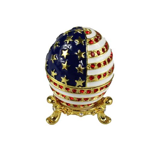 usa flag egg trinket box keepsake