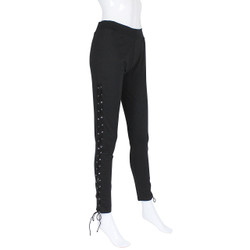 Black Lace up Cotton Leggings Size L