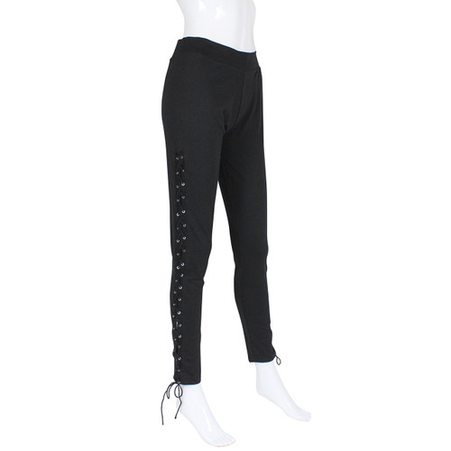 Black Lace up Cotton Leggings Size S