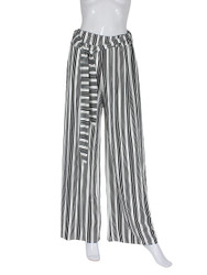 White and Black Vertical Striped Palazzo Wide Leg Pants