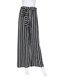 Black and White Vertical Striped Palazzo Wide Leg Pants