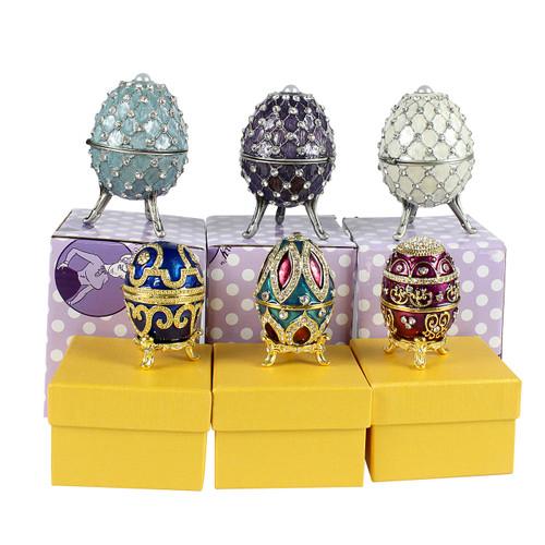 wholesale egg trinket box bejeweled set of 6