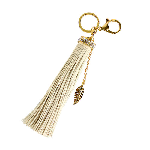 Rhinestone Leaf Charm Tassel Keychain Beige