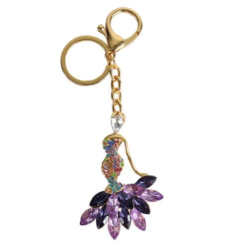 Rhinestone Mermaid Dress Purse Charm Keychain Purple