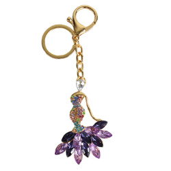 Rhinestone Mermaid Dress Purse Charm Keychain Purple