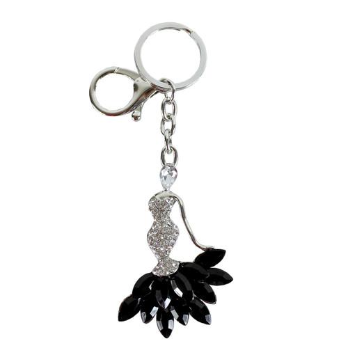 Rhinestone Mermaid Dress Purse Charm Keychain Black Silver