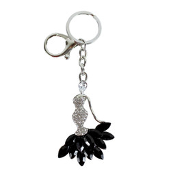 Rhinestone Mermaid Dress Purse Charm Keychain Black Silver