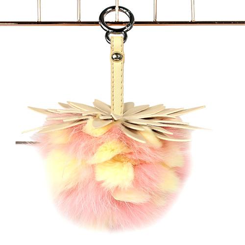 """Super Soft Mink Fur Fruit Charm 6"""" Pink Beige"""