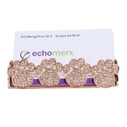 rose gold paw print card holder jeweled