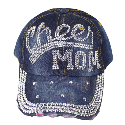 Cheer Mom Rhinestone Distressed Cap Denim
