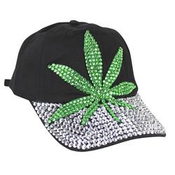 Marijuana Leaf Rhinestone Cap Black