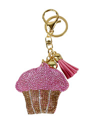 Pink Cupcake Rhinestone Key Chain with Padded Felt Backing