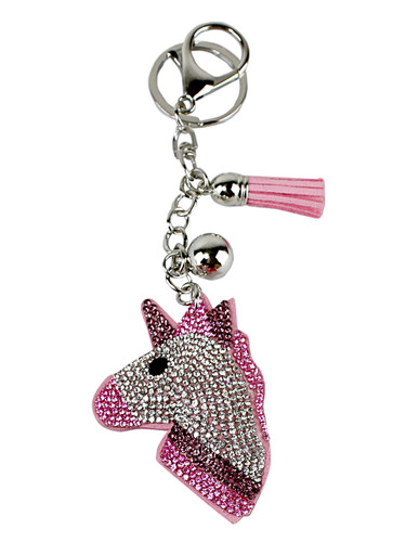 Pink Unicorn Cupcake Rhinestone Key Chain with Padded Felt Backing