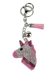Pink Unicorn Cupcake Rhinestone Key Chain with Padded Felt Backing
