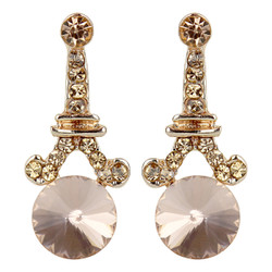 Eiffel Tower Crystal Post Earrings Rose Gold