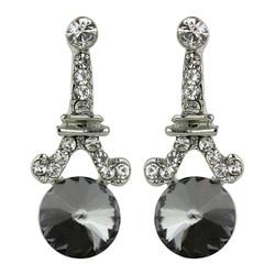 Eiffel Tower Crystal Post Earrings Silver Black