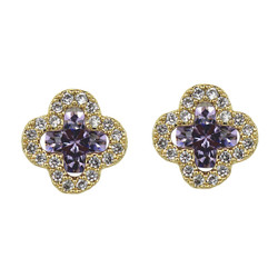 Cubic Zirconia Flower Stud Earrings Silver Post Lavender