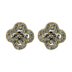 Cubic Zirconia Flower Stud Earrings Silver Post Gold