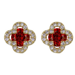 Cubic Zirconia Flower Stud Earrings Silver Post Red