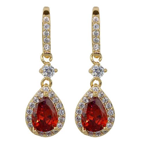 Cubic Zirconia Teardrop Earrings Ruby