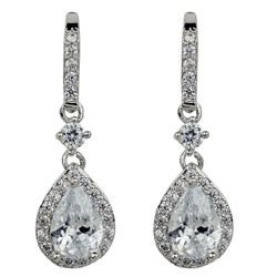 Cubic Zirconia Teardrop Earrings Silver