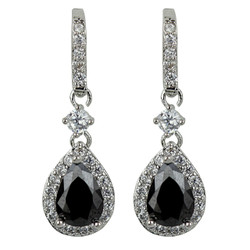 Cubic Zirconia Teardrop Earrings Onyx