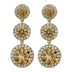 Cubic Zirconia Three Tier Circle Dangle Earrings Silver Post Citrine