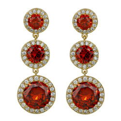 Cubic Zirconia Three Tier Circle Dangle Earrings Silver Post Red