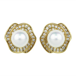 Cubic Zirconia Rose Studs and Faux Pearl Gold
