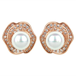 Cubic Zirconia Rose Studs and Faux Pearl Rose Gold