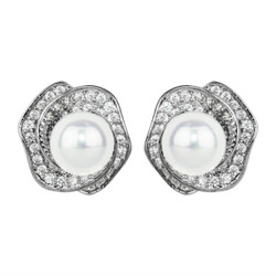 Cubic Zirconia Rose Studs and Faux Pearl Silver
