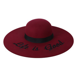 Embroidered Life is Good Wide Brim Floppy Felt Hat Burgundy
