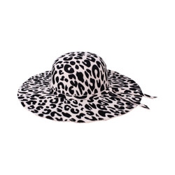 Leopard Print Floppy Fedora Felt Hat Black and Beige