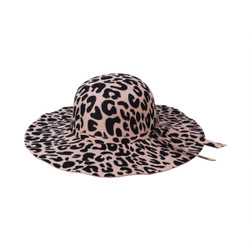 Leopard Print Floppy Fedora Felt Hat Khaki and Black