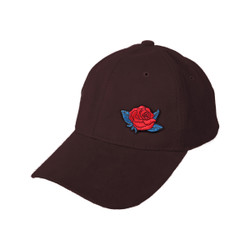 Dark Brown Sueded Cap with Optional Rose Patch
