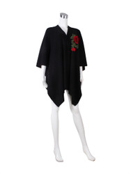 Knitted Ruana Wrap with Embroidered Flower Black