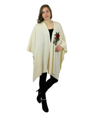Knitted Ruana Wrap with Embroidered Flower Ivory